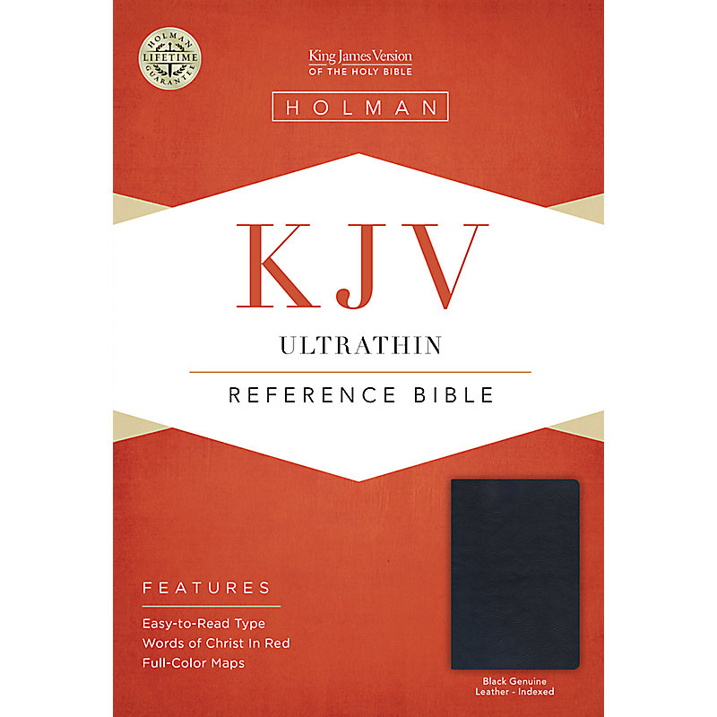 KJV UltraThin Reference Bible, Black Genuine Leather Indexed