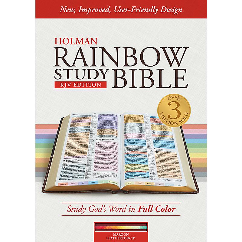KJV Rainbow Study Bible, Maroon LeatherTouch