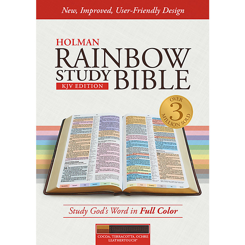 KJV Rainbow Study Bible, Cocoa/Terra Cotta/Ochre LeatherTouch, Indexed