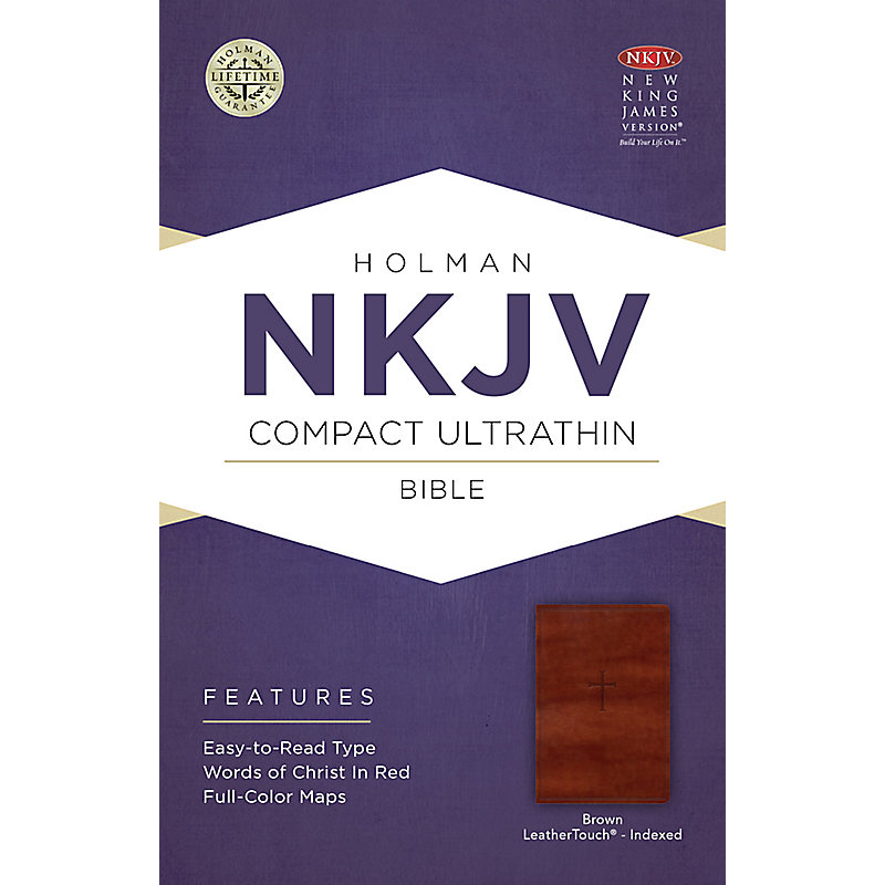 NKJV Compact Ultrathin Bible, Brown Cross LeatherTouch, Indexed