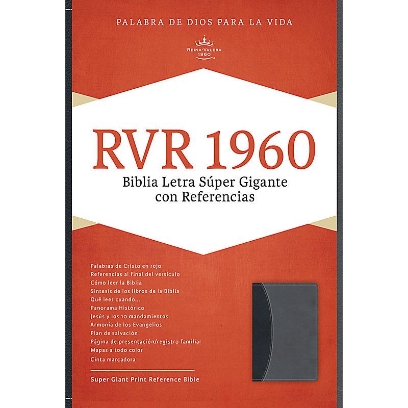 RVR 1960 Biblia Letra Súper Gigante, negro/gris símil piel