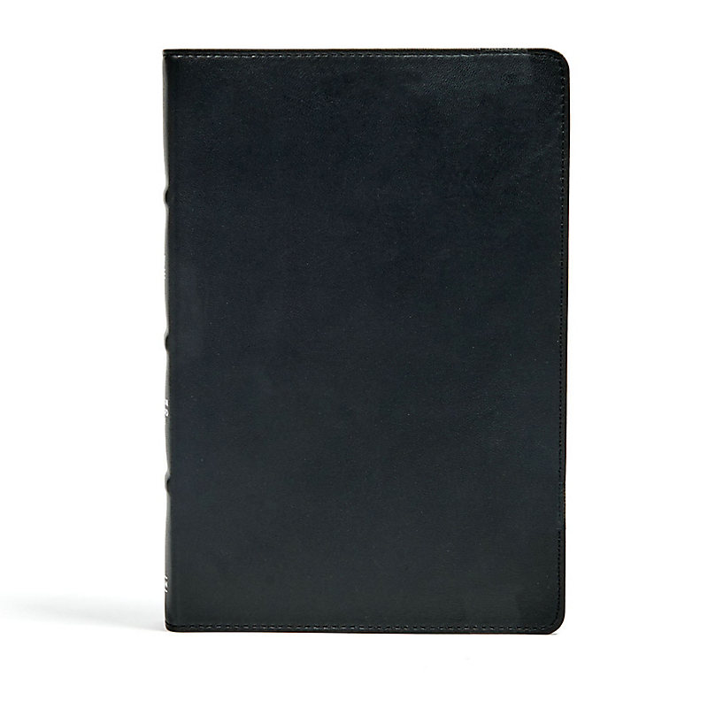 CSB Large Print Ultrathin Reference Bible, Black Premium Leather, Black Letter Edition, Indexed