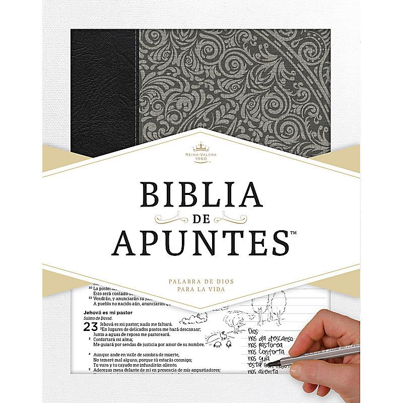 RVR 1960 Biblia de apuntes - Gris - Piel genuina y tela impresa