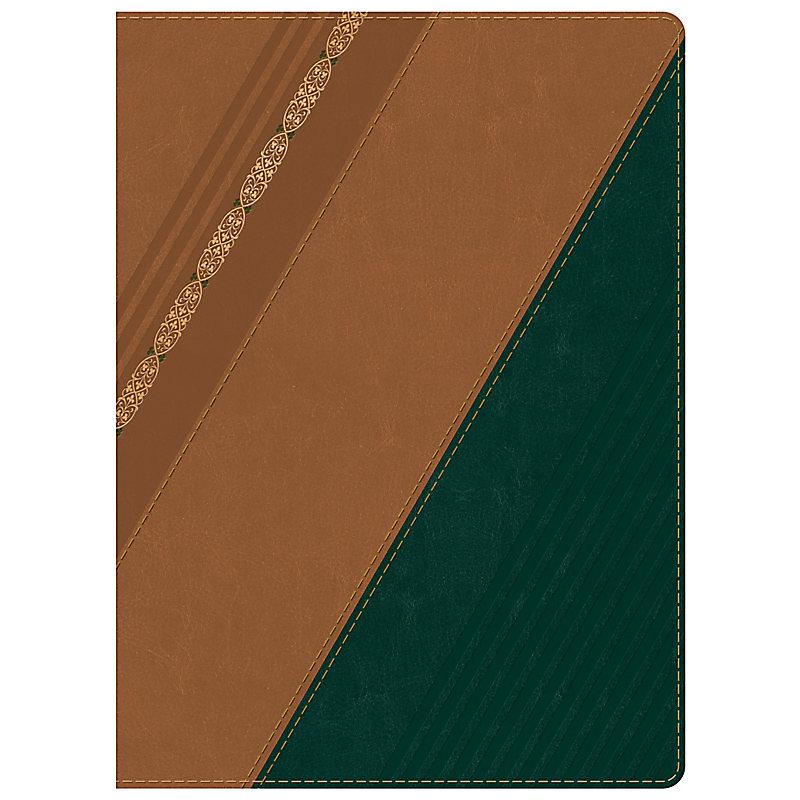 RVR 1960 Biblia de Estudio Holman, castaño/verde bosque con filigrana símil piel  con índice