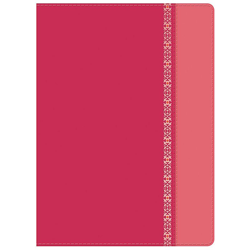 RVR 1960 Biblia de Estudio Holman, fucsia/rosado con filigrana símil piel, con índice