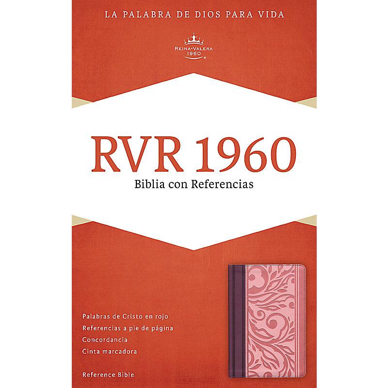 RVR 1960 Biblia con Referencias, borravino/rosado símil piel