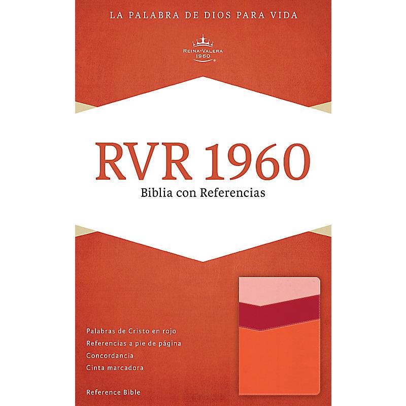RVR 1960 Biblia con Referencias, mango/fresa/durazno claro símil piel