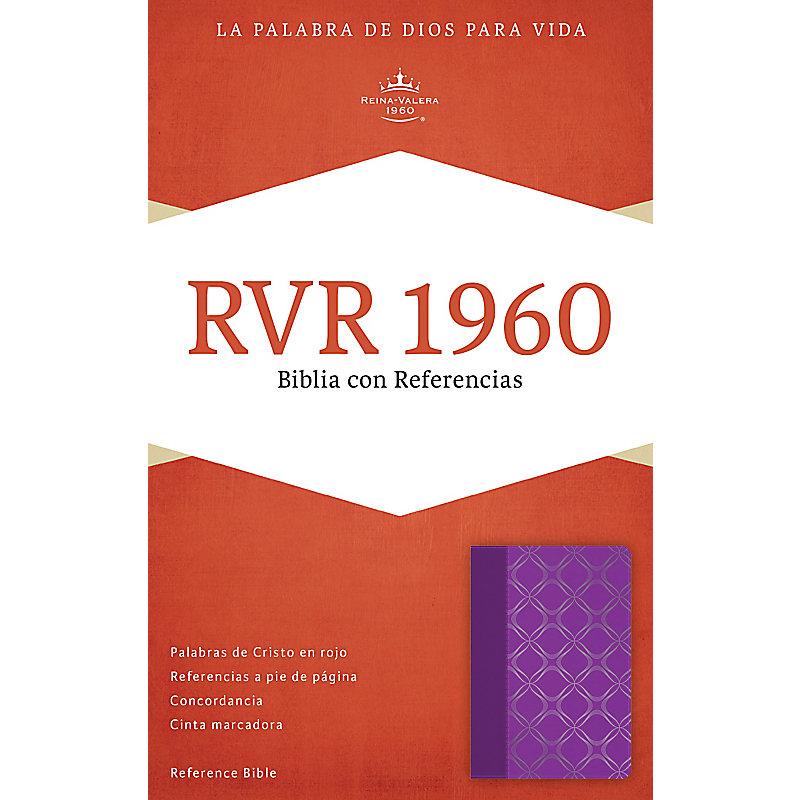 RVR 1960 Biblia con Referencias, violeta con plateado símil piel