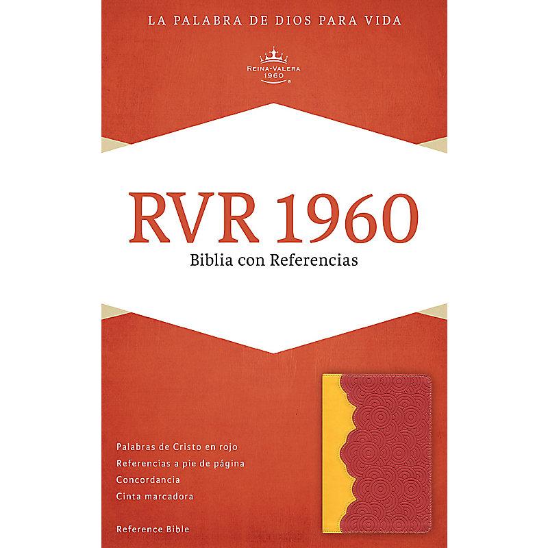 RVR 1960 Biblia con Referencias, ámbar/rojo ladrillo símil piel