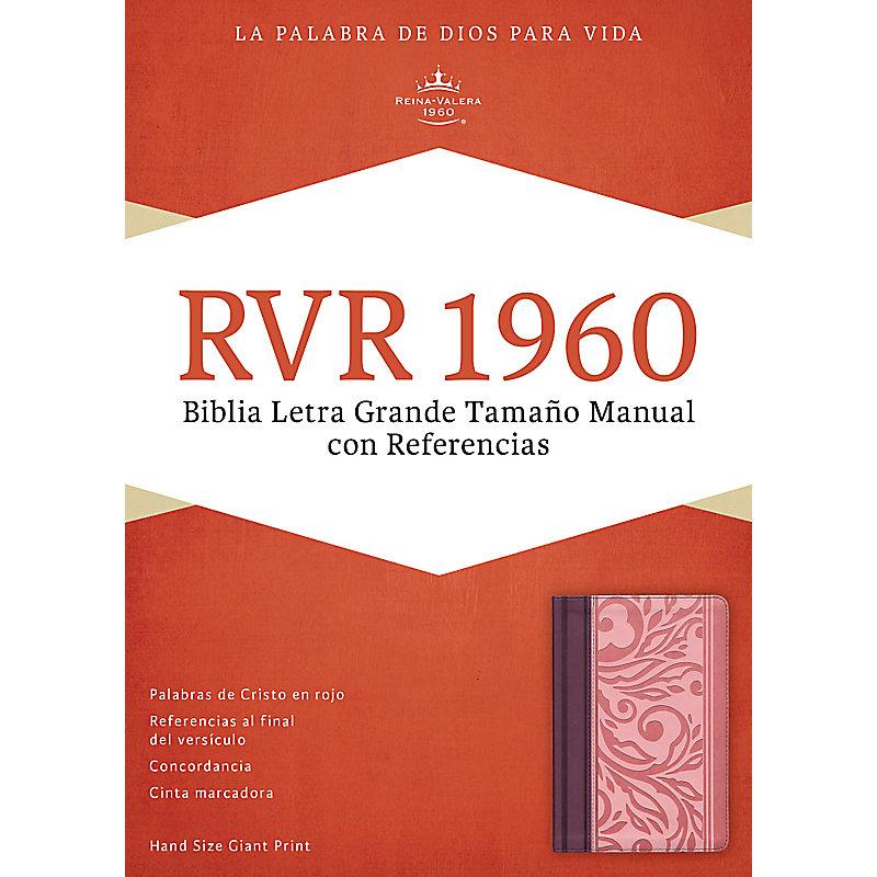 RVR 1960 Biblia Letra Grande Tamaño Manual con Referencias, borravino/rosado símil piel