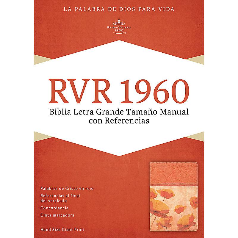 RVR 1960 Biblia Letra Grande Tamaño Manual con Referencias, damasco/coral símil piel