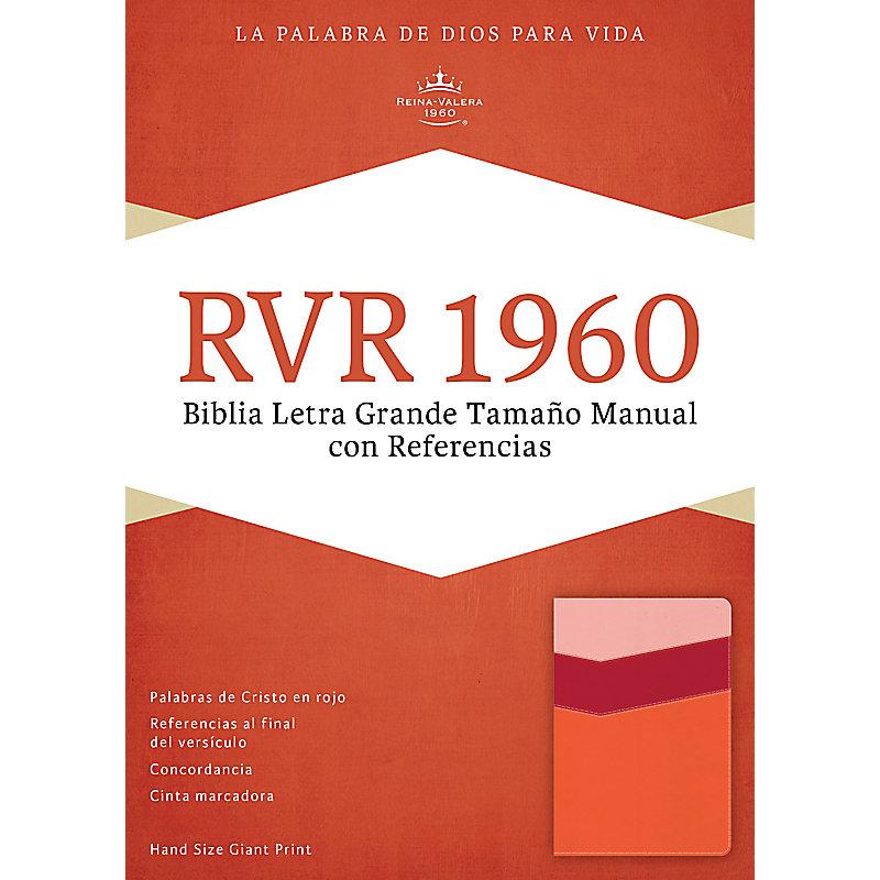 RVR 1960 Biblia Letra Grande Tamaño Manual con Referencias, mango/fresa/durazno claro símil piel