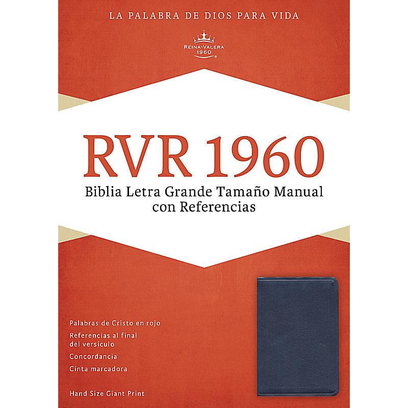 RVR 1960 Biblia Letra Grande Tamaño Manual con Referencias, azul zafiro, imitación piel