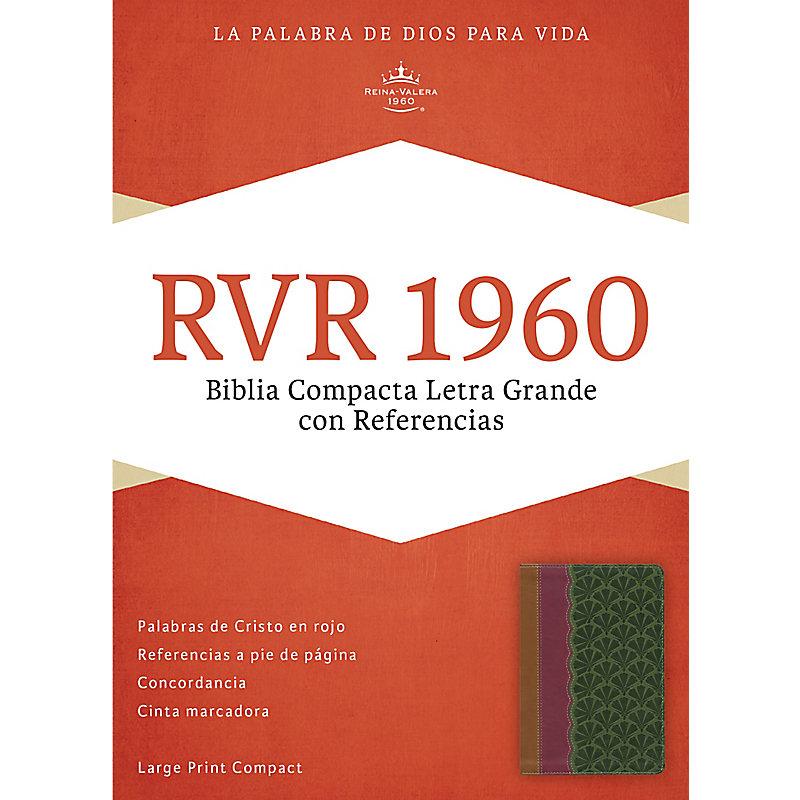 RVR 1960 Biblia Compacta Letra Grande con Referencias, chocolate/ciruela/verde jade símil piel
