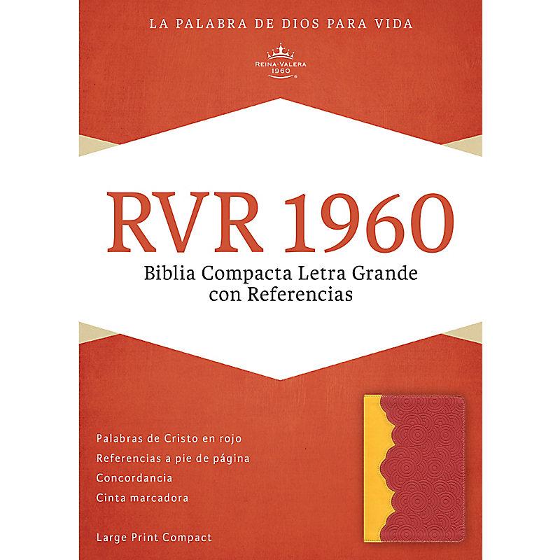 RVR 1960 Biblia Compacta Letra Grande con Referencias, ámbar/rojo ladrillo símil piel