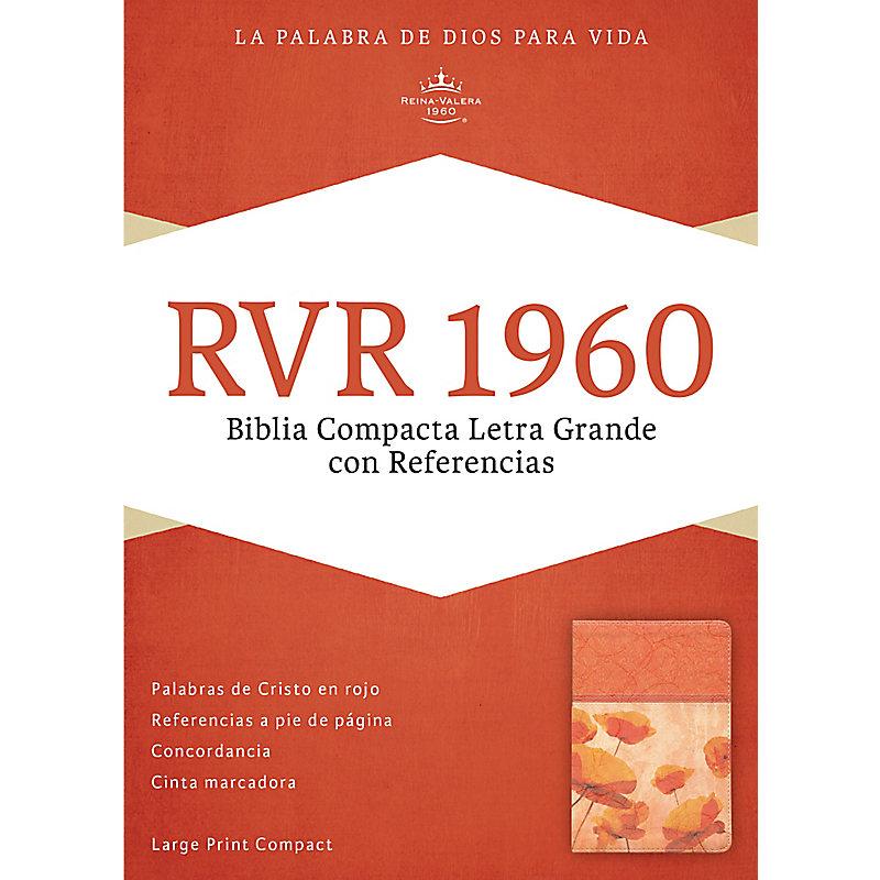 RVR 1960 Biblia Compacta Letra Grande con Referencias, damasco/coral símil piel