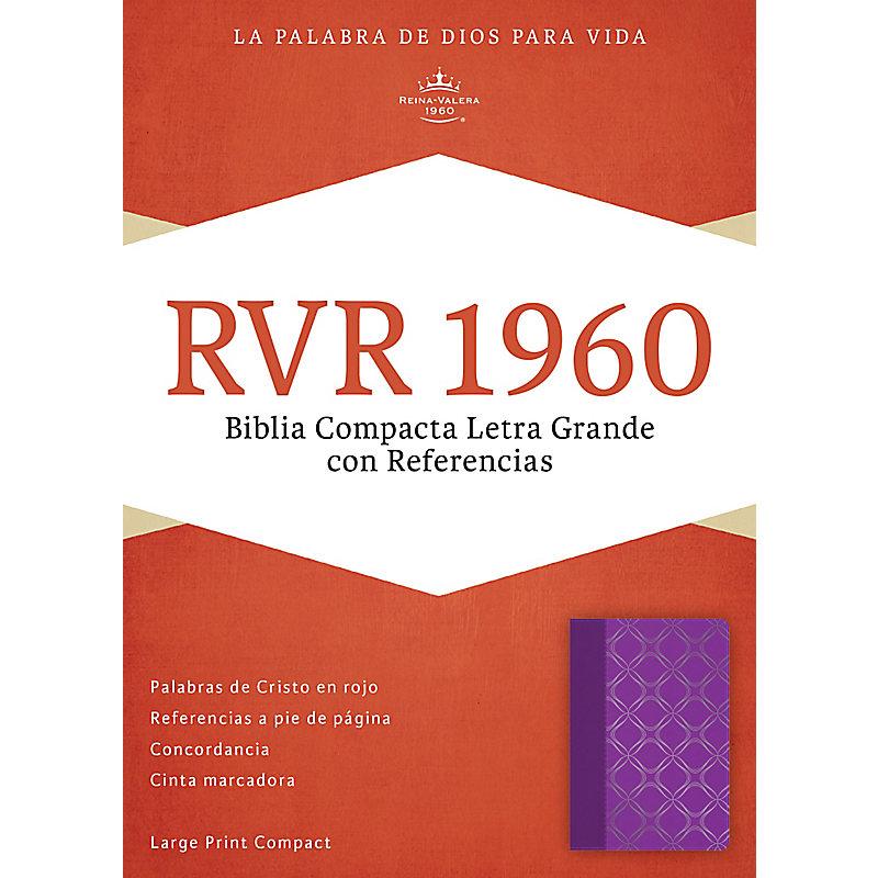 RVR 1960 Biblia Compacta Letra Grande con Referencias, violeta con plateado símil piel