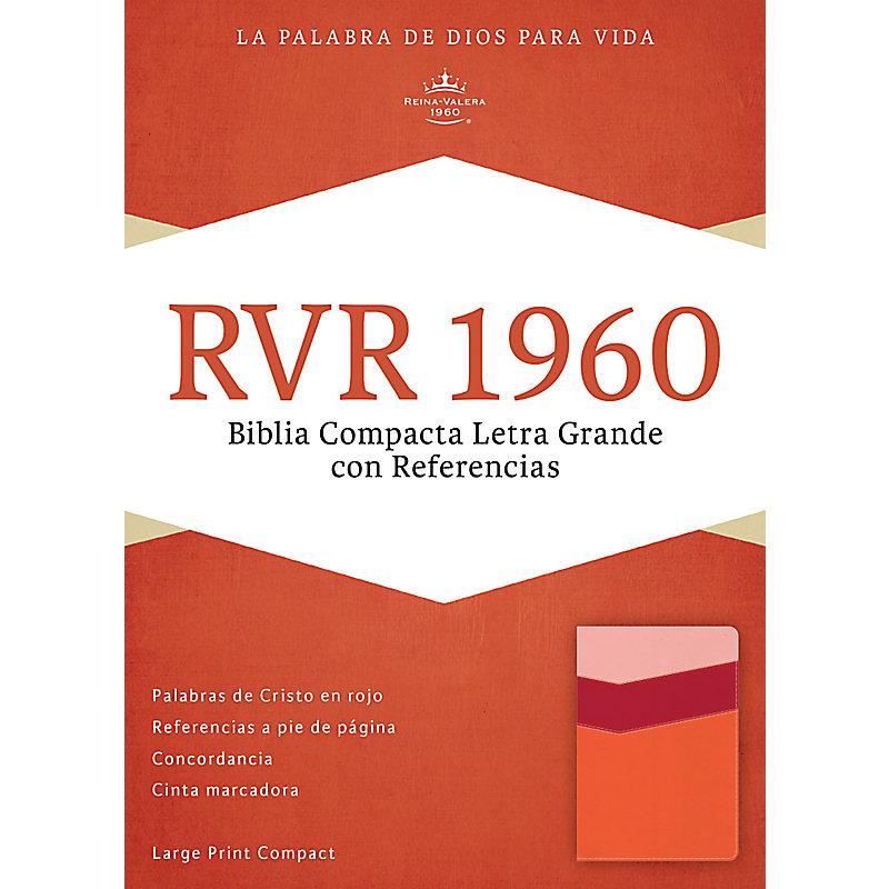 RVR 1960 Biblia Compacta Letra Grande con Referencias, mango/fresa/durazno claro símil piel