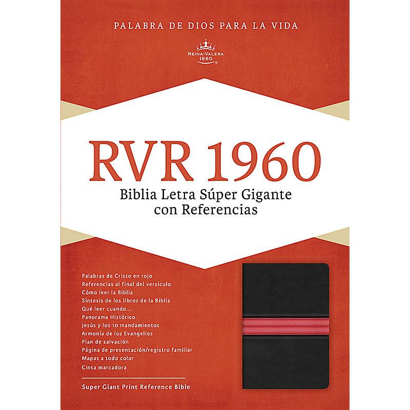 RVR 1960 Biblia Letra Súper Gigante, negro/rojo en piel fabricada con índice