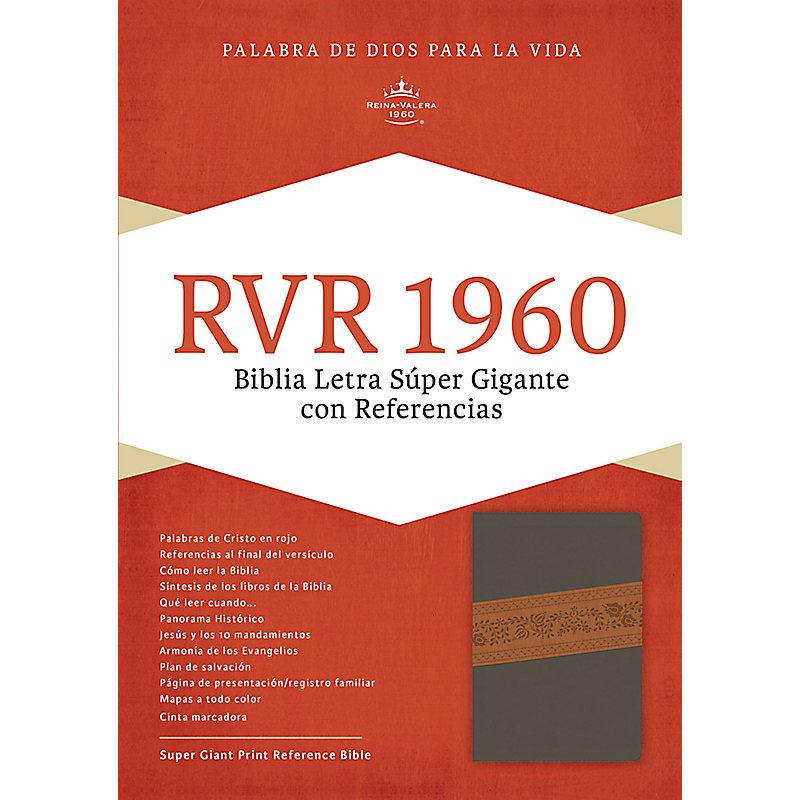 RVR 1960 Biblia Letra Súper Gigante, gris/marrón símil piel con índice