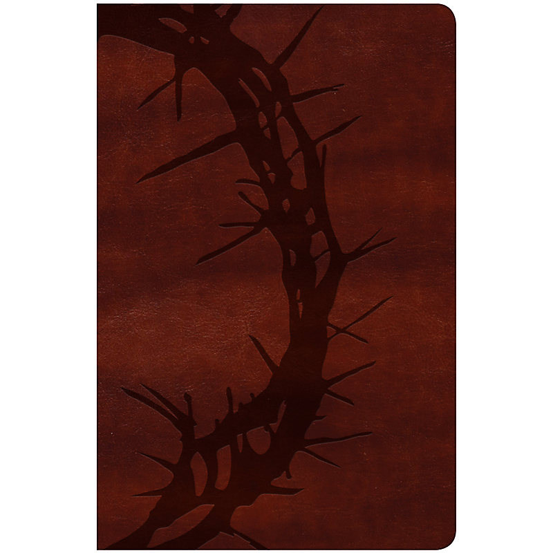 KJV Large Print Personal Size Reference Bible, Brown Crown of Thorns LeatherTouch