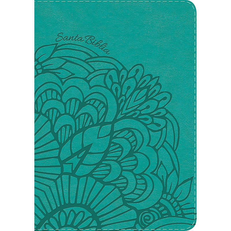 RVR 1960 Biblia Compacta Letra Grande aqua, símil piel con índice