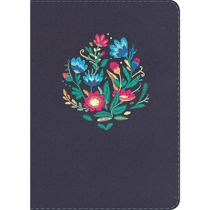 NVI Biblia Letra Grande Tamaño Manual, azul bordado sobre tela
