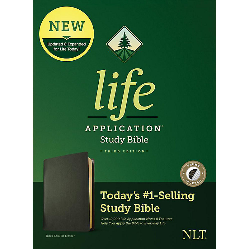 NLT Life Application Study Bible, Third Edition, Genuine Leather, Black, Indexed