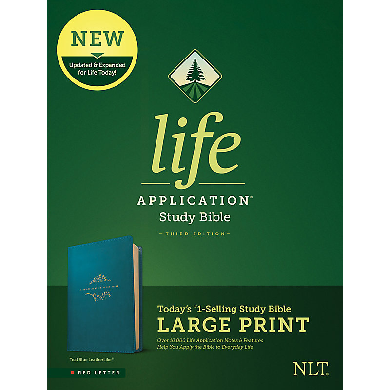 NLT Life Application Study Bible, Third Edition, Large Print (Leatherlike, Teal Blue)