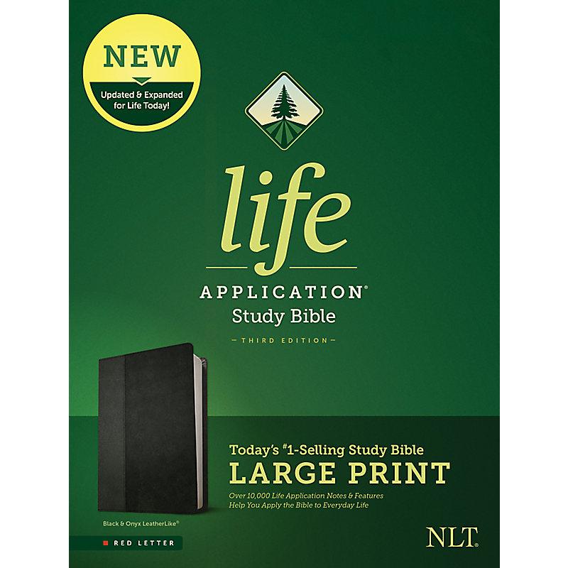 NLT Life Application Study Bible, Third Edition, Large Print (Leatherlike, Black/Onyx)