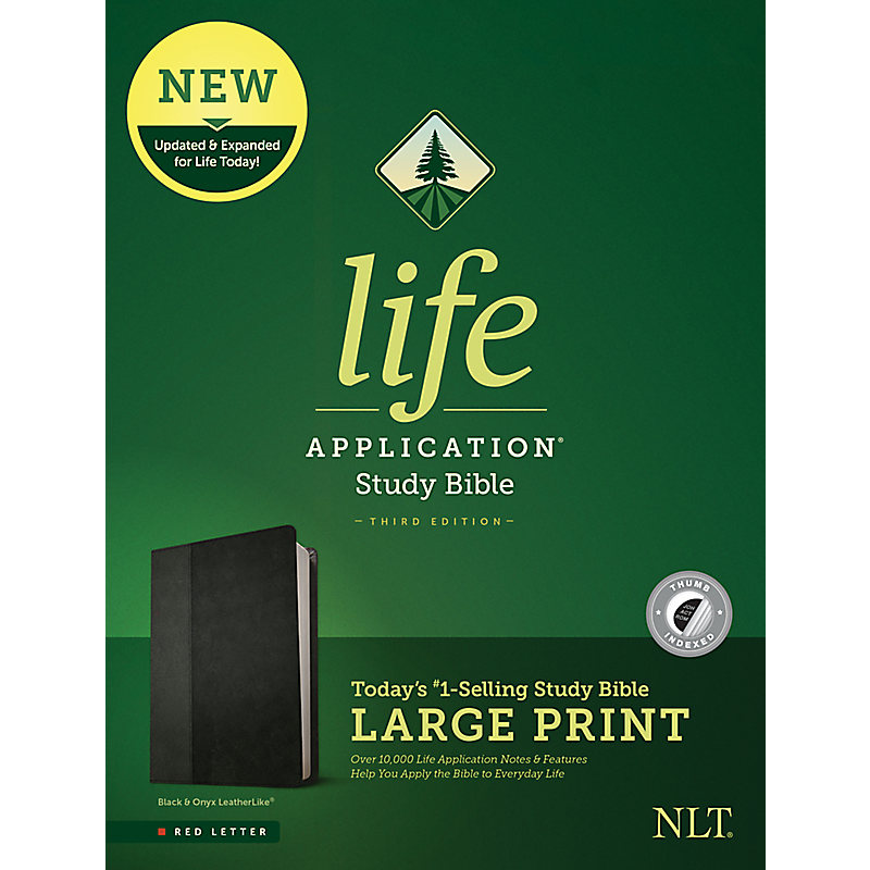 NLT Life Application Study Bible, Third Edition, Large Print (Leatherlike, Black/Onyx, Indexed)