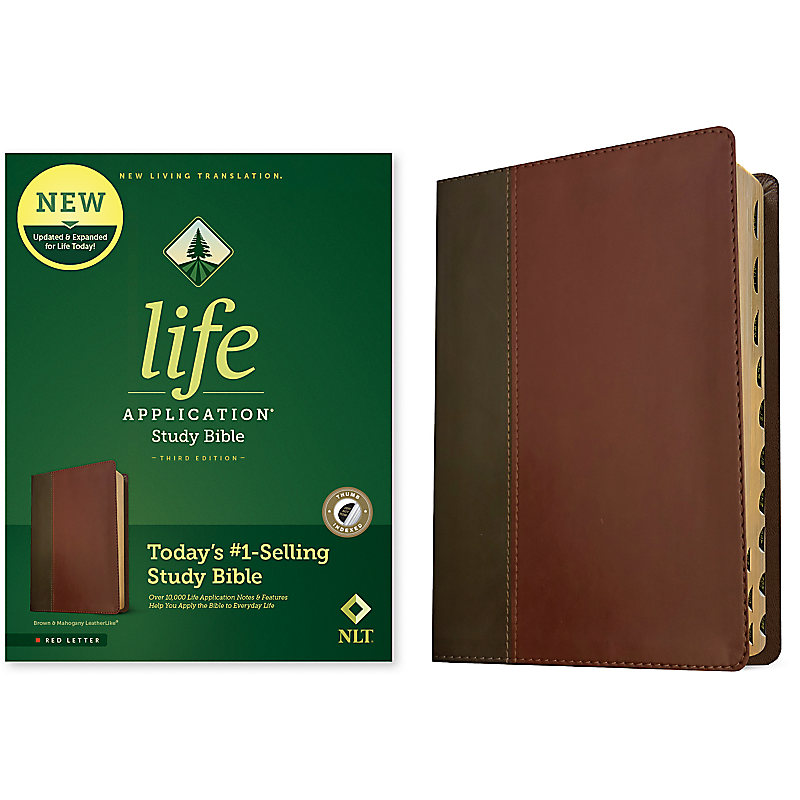 NLT Life Application Study Bible, Third Edition, Red Letter, Simulated Leather, Brown/Mahogany, Indexed