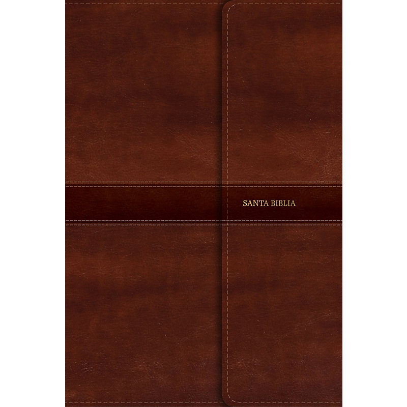 RVR 1960 Biblia Letra Gigante marrón, símil piel y solapa con imán
