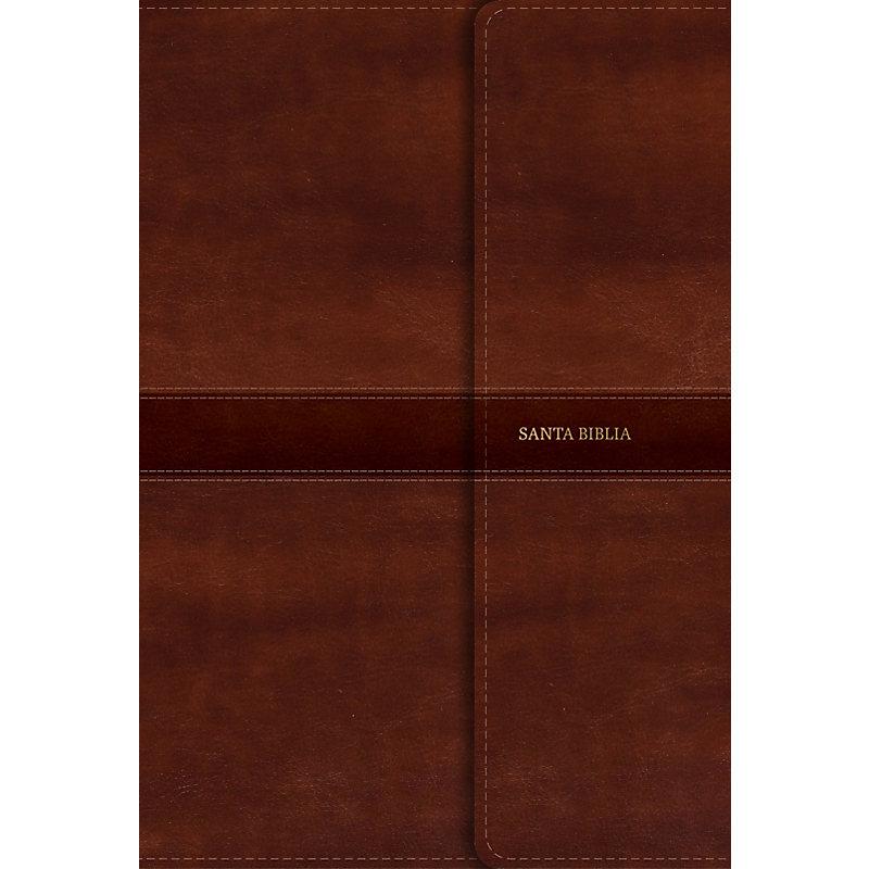 RVR 1960 Biblia Letra Gigante marrón, símil piel con índice y solapa con imán