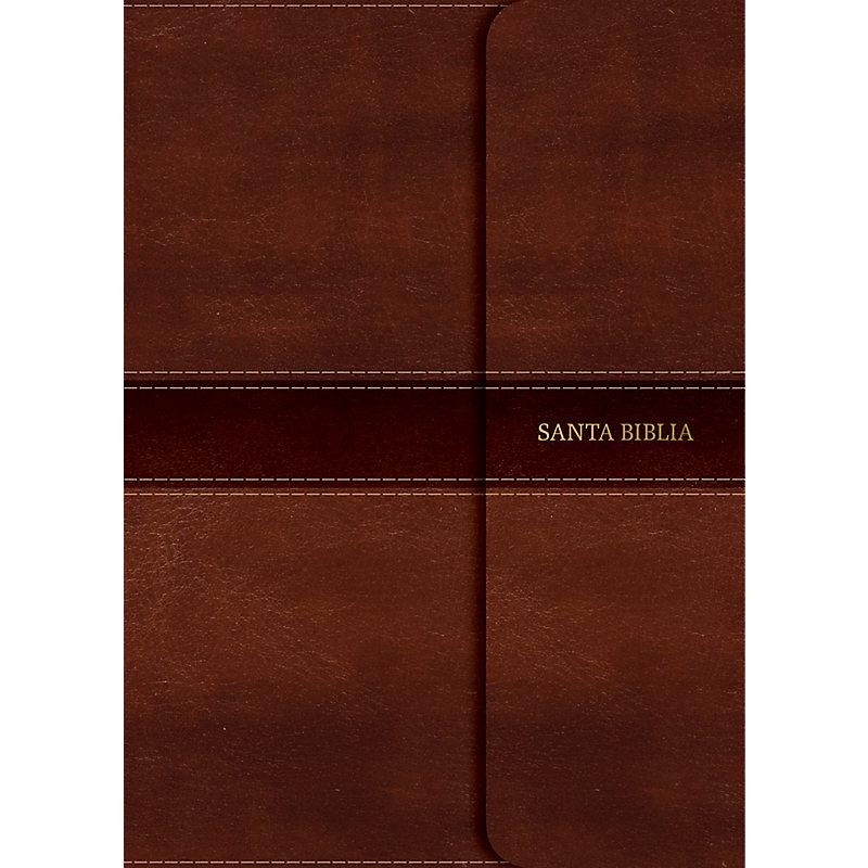 RVR 1960 Biblia Compacta Letra Grande marrón, simil piel con índice y solapa con imán
