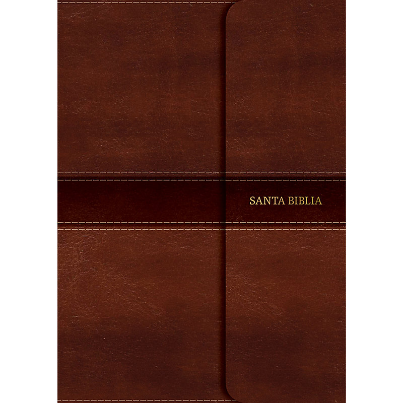NVI Biblia Letra Súper Gigante marrón, símil piel con solapa con imán