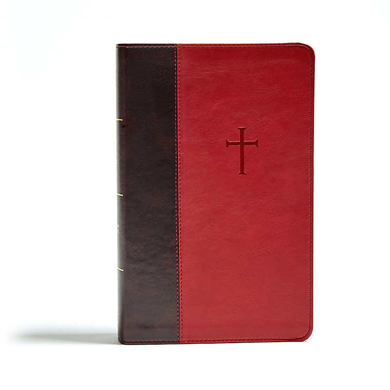 CSB Single-Column Personal Size Bible, Crimson / Brown LeatherTouch