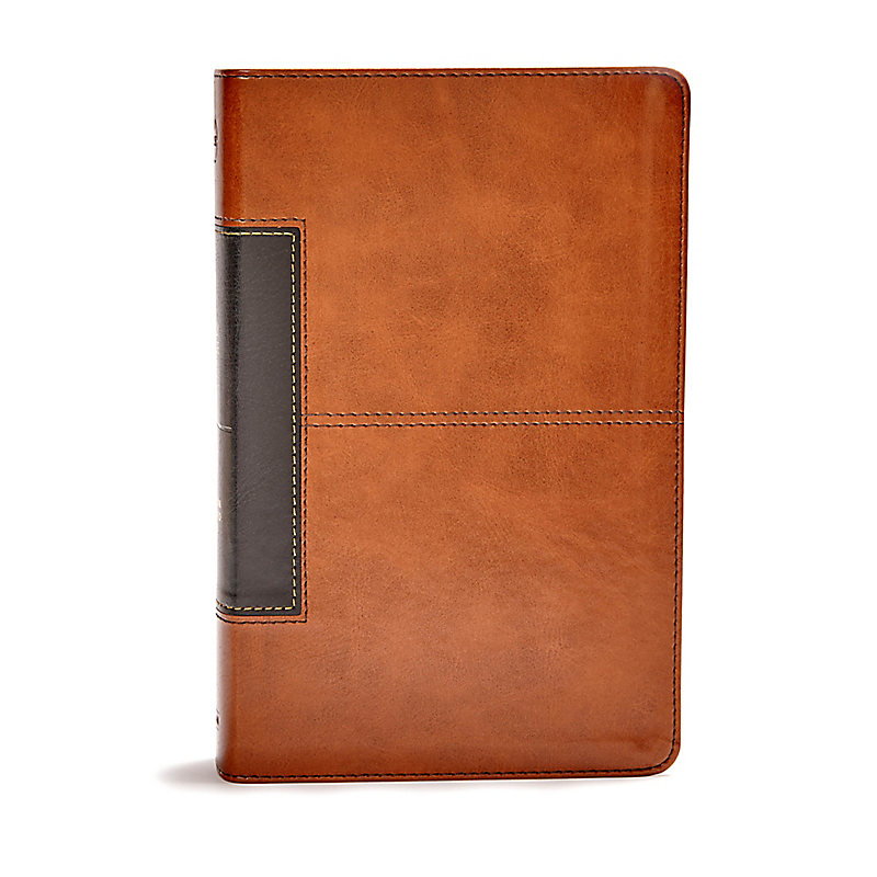 CSB Single-Column Personal Size Bible, Tan/Black LeatherTouch