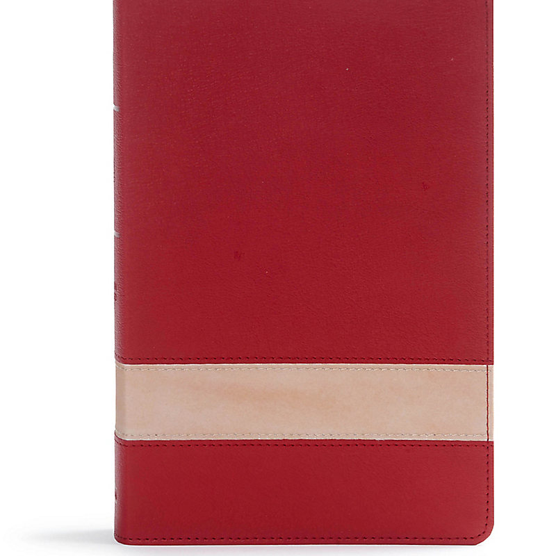 CSB Large Print Personal Size Reference Bible, Crimson/Tan LeatherTouch