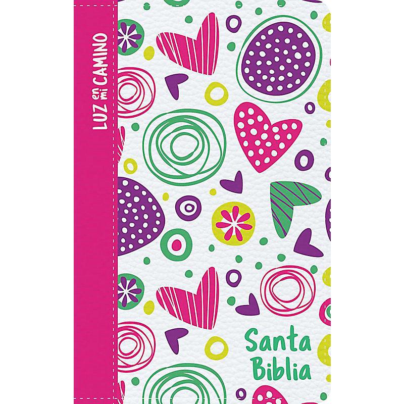 NVI Biblia Luz en mi camino corazones, multicolor símil piel