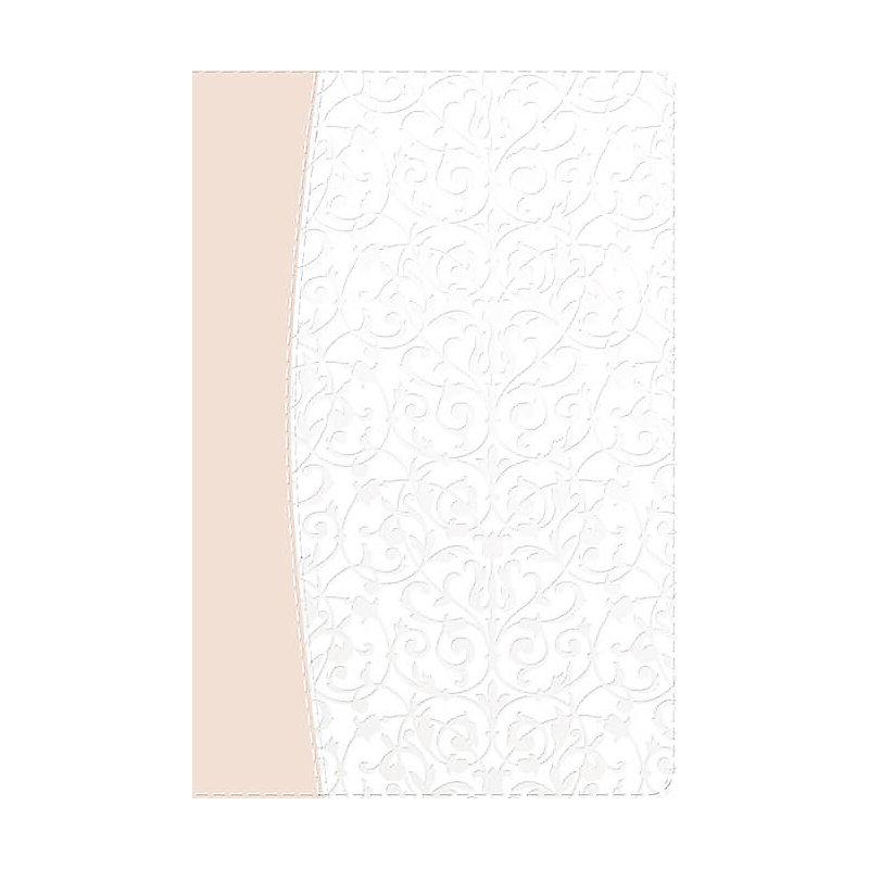 RVR 1960 Biblia Recuerdo de Boda, filigrana blanca/rosa palo símil piel