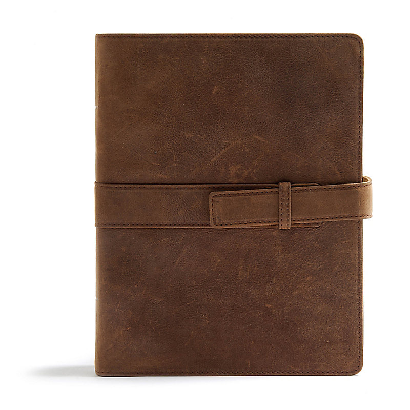 CSB Legacy Notetaking Bible, Tan Genuine Leather with Strap
