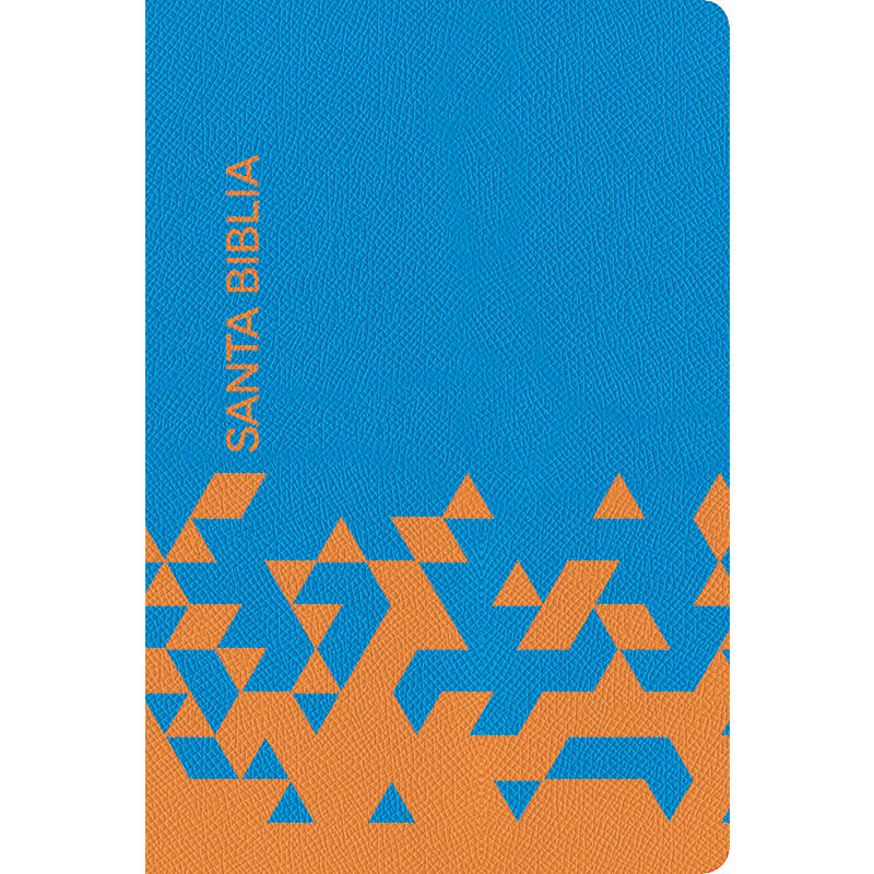NVI Biblia para Regalos y Premios, azul océano/papaya símil piel