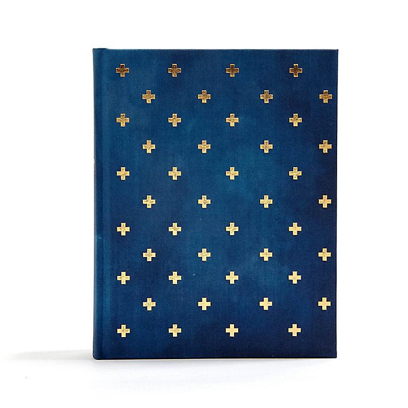 CSB Notetaking Bible, Navy/Cross Cloth-Over-Board