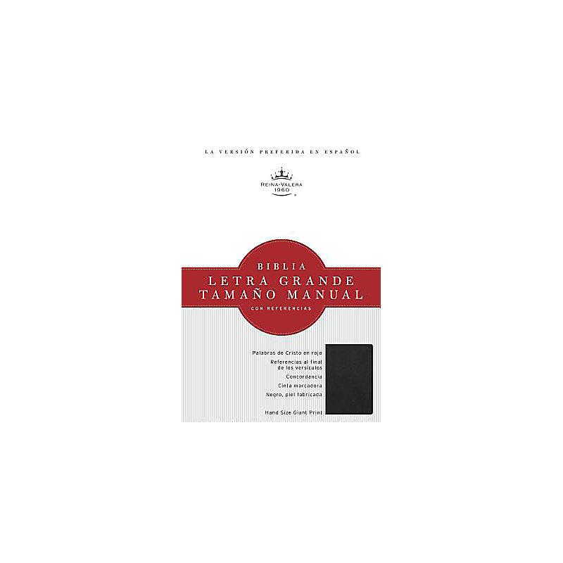 RVR 1960 Biblia Letra Grande Tamaño Manual, negro, piel fabricada con índice