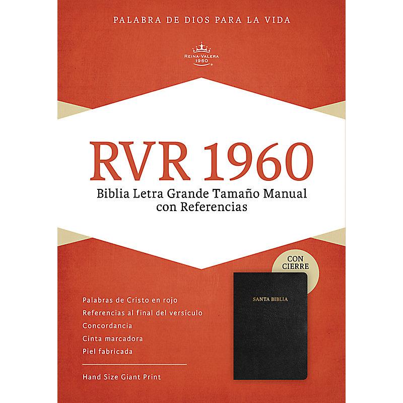 RVR 1960 Biblia Letra Grande Tamaño Manual, negro piel fabricada con índice y cierre