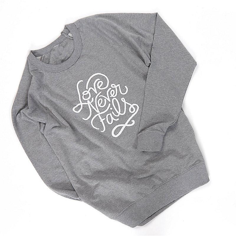"""Love Never Fails"" Sweatshirt, Gray"