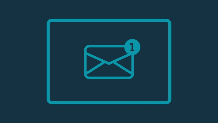 Envelope icon showing 1 inbox has one message