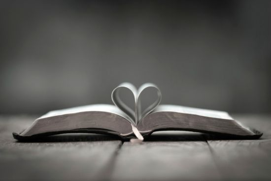 Bible with heart in the pages