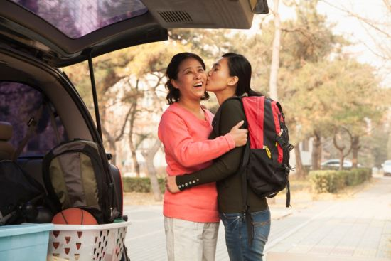 Empty nest syndrome, Daughter kissing mother